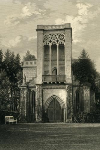Stahlstich des Tempelherrenhauses im Ilmpark von Weimar